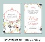 wedding set. romantic vector... | Shutterstock .eps vector #481737019