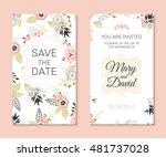 wedding set. romantic vector... | Shutterstock .eps vector #481737028