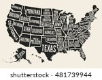 poster map of united states of... | Shutterstock .eps vector #481739944