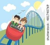 rollercoaster in amusement park.... | Shutterstock .eps vector #481740769