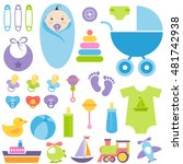 set of baby boy elements | Shutterstock .eps vector #481742938