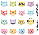 cute colorful cat faces set.... | Shutterstock . vector #481743610