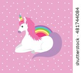unicorn rainbow triangle... | Shutterstock .eps vector #481744084