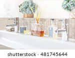 silver faucet and white... | Shutterstock . vector #481745644