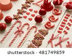 christmas decoration on wooden...   Shutterstock . vector #481749859
