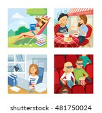 woman reading a book outdoor ... | Shutterstock .eps vector #481750024
