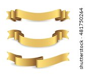 set of shiny golden ribbons.... | Shutterstock .eps vector #481750264