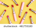 flat lay fashion with lipsticks ... | Shutterstock . vector #481753183