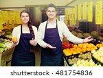 positive smiling sellers... | Shutterstock . vector #481754836