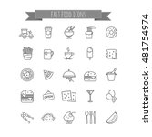 fast food icons   vector stock... | Shutterstock .eps vector #481754974
