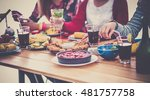 group of people having dinner... | Shutterstock . vector #481757758