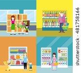 set of supermarket concept web...   Shutterstock . vector #481758166