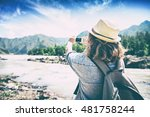 young woman traveler on a... | Shutterstock . vector #481758244