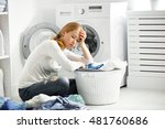 tired unhappy woman housewife... | Shutterstock . vector #481760686