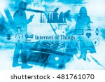 Small photo of Internet of thing concept. Smart things sign on double exposure of modern department store, silhouette of business man and woman and laptop computer. blue tone.