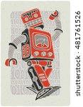 funny vintage robot vector... | Shutterstock .eps vector #481761526