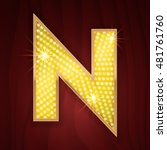 Gold Light Lamp Bulb Letter N....