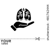 web icon. lungs in hand | Shutterstock .eps vector #481762444