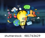 hand drawn lightbulb with... | Shutterstock . vector #481763629