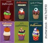 cupcake happy halloween scary... | Shutterstock .eps vector #481763950