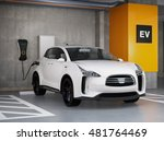 white electric suv recharging... | Shutterstock . vector #481764469