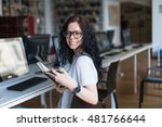 smiling woman with book | Shutterstock . vector #481766644