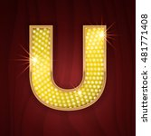 gold light lamp bulb letter u....