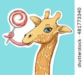 vector illustration of giraffe. ...   Shutterstock .eps vector #481773340