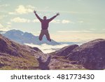 man on the sheer cliff | Shutterstock . vector #481773430