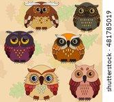 set of six cartoon owls in... | Shutterstock .eps vector #481785019