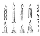 Candle Hand Drawn Set. Vector...