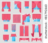red curtains set of vintage... | Shutterstock .eps vector #481792660