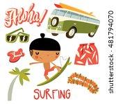 hawaii surfer boy set. hippie... | Shutterstock .eps vector #481794070