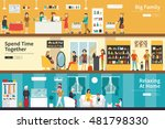 big family spend time together...   Shutterstock .eps vector #481798330
