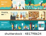 best dad shopping grandma flat... | Shutterstock .eps vector #481798624