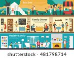 best dad family dinner healthy... | Shutterstock .eps vector #481798714