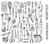 kitchen supplies set. hand... | Shutterstock .eps vector #481807519