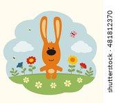 funny bunny rabbit on flower... | Shutterstock .eps vector #481812370
