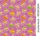pumpkin in hats. seamless... | Shutterstock .eps vector #481821844