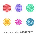 flower icons in stencil style ... | Shutterstock .eps vector #481822726