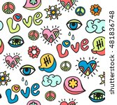 Hippie Doodle Vector Seamless...