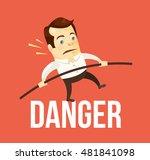 business man balancing danger.... | Shutterstock .eps vector #481841098