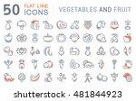 set vector line icons in flat... | Shutterstock .eps vector #481844923