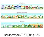 header set in flat style.... | Shutterstock . vector #481845178