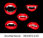 halloween set of red vampire... | Shutterstock .eps vector #481851133