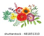 bouquet of flowers and leaves ... | Shutterstock . vector #481851310
