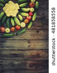 vegetables on wood.bio healthy... | Shutterstock . vector #481858558