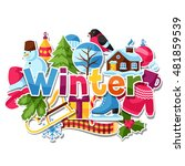 background with winter stickers....   Shutterstock .eps vector #481859539