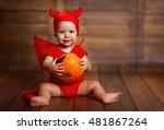 Funny Baby In Devil Halloween...