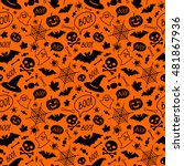 Stock vector halloween orange festive seamless pattern endless background with pumpkins skulls bats spiders 481867936